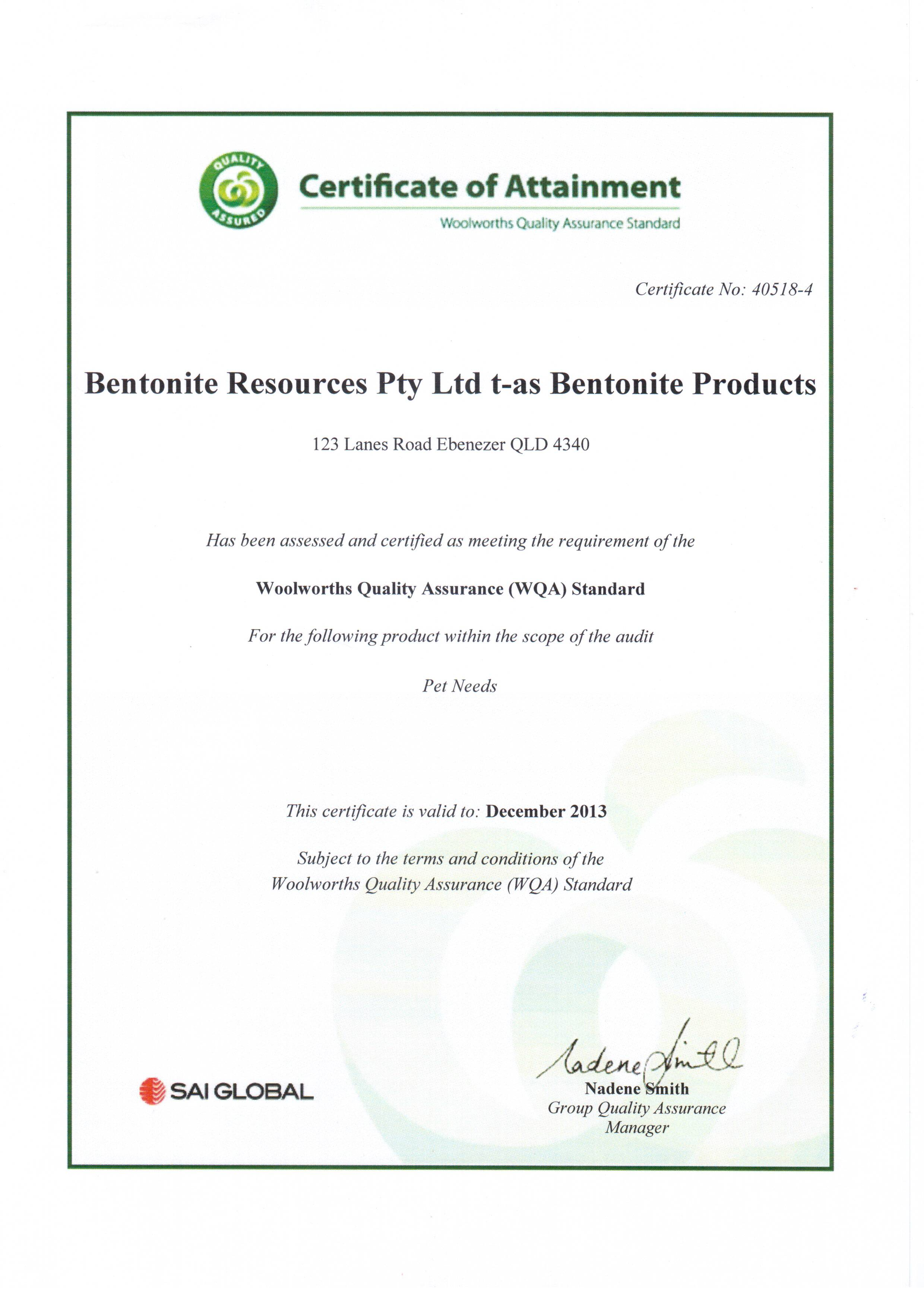 SAI Global Quality Certificate